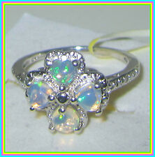 Genuine Ethiopian Welo Opal Ring Platinum overlay Sterling Silver 925 sz 7