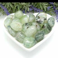 Prehnite with Epidote & Tourmaline - Pair of Tumblestones, Healers Crystal