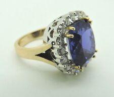 Beautiful 14k Yellow Gold Custom Made Halo 8.25 ct Tanzanite and Diamond Ring