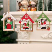 House Shape Santa Claus/Snowman/Elk Wood Pendants Xmas Tree Ornaments Decor-