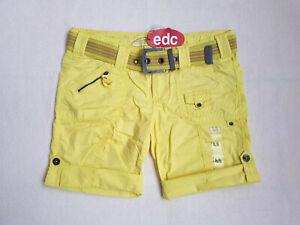 Kurze Hose Turn Up Shorts + Gürtel Gr.40 Bermuda EDC BY ESPRIT Play Gelb NEU NEW