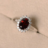 14K White Gold 1.80 Ct Oval Cut Real Garnet Diamond Engagement Ring Size 6 4.5