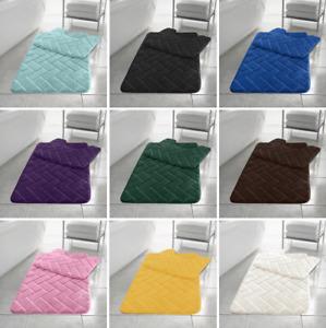2PC Block Bath and Pedestal Mat Set Soft Super Absorbent Non Slip Luxury