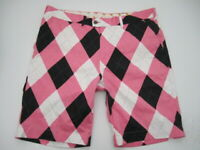 Mens size 42 Loudmouth Golf argyle black white pink shorts