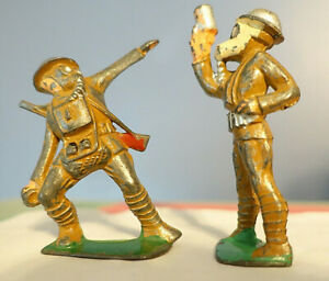 (2) c.1935 MANOIL BARCLAY TOY SOLDIERS w/GAS MASKS-Flare Gun & Throwing Grenade