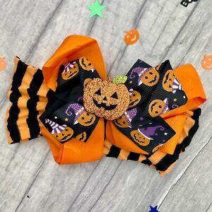 BABY GIRLS PUMPKIN HEADBAND, Newborn Toddler Halloween Pumpkin Bow Headband