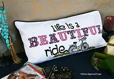 POTTERY BARN INSPIRATIONAL PILLOW COVER – NWT – LIFE IS A BEAUTIFUL RIDE!