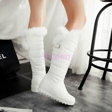 Women Lady Riding Mid Wedge Heel Punk Knee High Snow Boots Fur Trim Lined 34-42