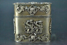 China old Collectible TIBET Silver carving myth dragon phoenix Tobacco box