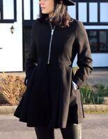 ASOS Fit Flare Zip Wool Skater Swing Coat  Skater Military Jacket 4 to 28 New