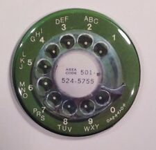 "Telephone Dial 1960s Green Retro Vintage Fridge Magnet 2 1/4"""