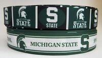 GROSGRAIN MICHIGAN STATE SPARTANS NCAA RIBBON LOT FOR HAIR BOWS CRAFTS 4 YARDS