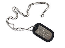 MILITARY DOG TAGS - SINGLE EMBOSSED PERSONALISED FREE - ARMY DOG TAG STAINLESS !