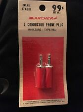Archer 274-287 Miniature Conductor Phone Plug Set Of 2 Type Red
