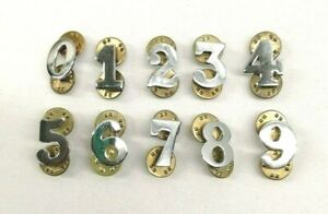 Ex Police Chrome Number Butterfly Pin Back Security Epaulettes Uniform Collector