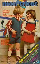 Mon Tricot Children School Knitting Crochet Patterns Sweater Hat Family 1973