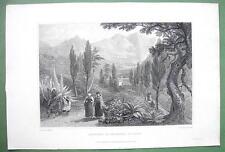 SICILY Italy Convent Sta Maria di Jesu Gesu - 1823 Antique Print by Mjr Light