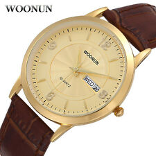 Ultra thin Luxury Gold Men Watches Brown Leather Day Date Quartz Wrist Watch New