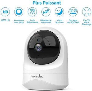 1080P Wifi IP Caméra Surveillance Sans Fil Vision Nuit Sécurité Intérieur Mouvem