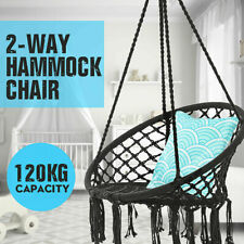 330 Pounds Cotton Rope Hanging Hammock Swing Chair Round Indoor Outdoor Black Us