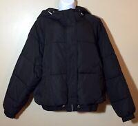 Zara Woman Water Repellent Black Puffer Jacket Hood Zip NWT Size Large