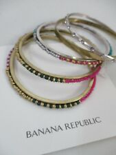 Banana Republic Pink Turq Gold Bead Crystal Stackable Bracelet Set NWT $50