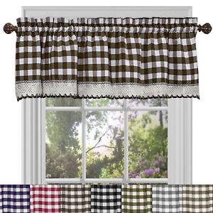 "Buffalo Check Gingham Kitchen Curtain Valance - 14"" x 58"""