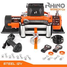 12v Electric Winch - 13500lb RHINO, Heavy Duty, 4x4 Recovery + Mounting Plate