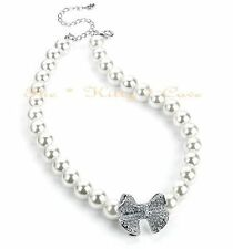 Chic Deco Vintage Bridal White Pearls Necklace W/ Swarovski Crystals Bow Pendant