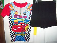Disney Cars Red Black Short Pajama PJ 2 Piece Set Boys Size 8 NWT #111