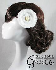 Peony white organza crystal flower wedding bridal fascinator headpiece RRP $40