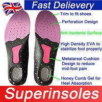 Gel heel Anti-bacterial Odour Free Arch Support Full Flat Feet Orthotic Insoles