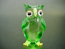 Glass OWL BIRD Hand Painted Tinted Green Glass Ornament Blown Glass Animal Gift