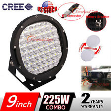 9'' 225W Round Cree Led Work Light Spot Flood Driving Head Lamp Offroad + Covers