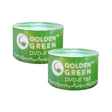 100 PC Golden Green 16X 4.7 GB DVD-R Logo Top Disc Blank Media - B32-810