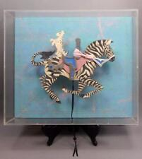 Dee Segula Original Art Paper Collage Carousel Zebra Dog Pull Toy Puppet Framed