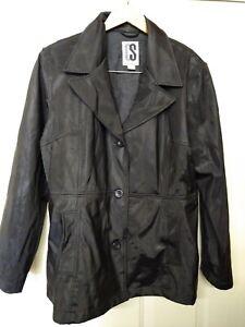CS Signature Women's Button Jacket Rain Coat Sz L Polyester Black EUC