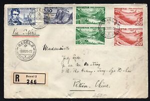 China 1934 cover from Swiss to Hankow-China franked R!R!R!
