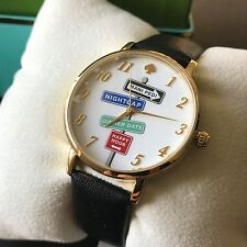 Kate Spade NY Women's KSW1128 Street Signs Metro White Leather Strap Watch NWT