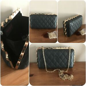 Malissa J purse clutch evening bag black quilted style chain strap