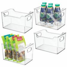mDesign Plastic Kitchen Pantry Cabinet Food Storage Bins, 4 Pack - Clear