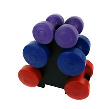 12kg Vinyl Hand Dumbbell Workout Weight Set Including Stand