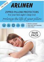 Luxury 100%Cotton Pair of Pillow Protectors Anti-Allergy Dust-Mite Zipped White