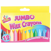 Pack of 12 Jumbo Wax Crayons - Children's Art Non Toxic, Colouring Party Bag