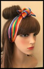 Silky Rainbow Fabric Multicoloured Stripes Headband Bandana Scarf Disco Hair Tie