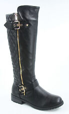 Women's Buckle Quilted Zipper Round Toe Knee High Low Heel Boots SZ 5.5 -11 NEW