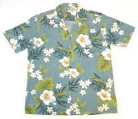 Aloha Republic Mens Large Hawaiian Camp Shirt Floral Blue Green Beige Cotton