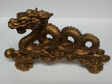 "Asian Chinese Gold Dragon Heavy Statue Art Sculpture Figure 12"""