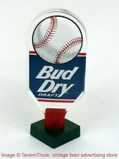 "Scarce 1990s Bud Dry Sports Blue Baseball 6½"" Acrylic Tap Handle Tavern Trove"