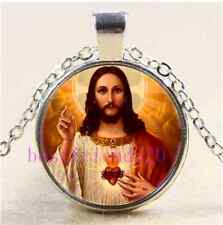Religious Sacred Heart Of Jesus Cabochon Glass Tibet Silver Pendant Necklace